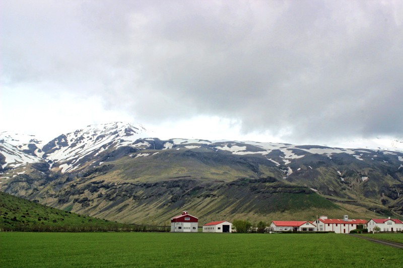 Farmhouse below the volcano in Iceland