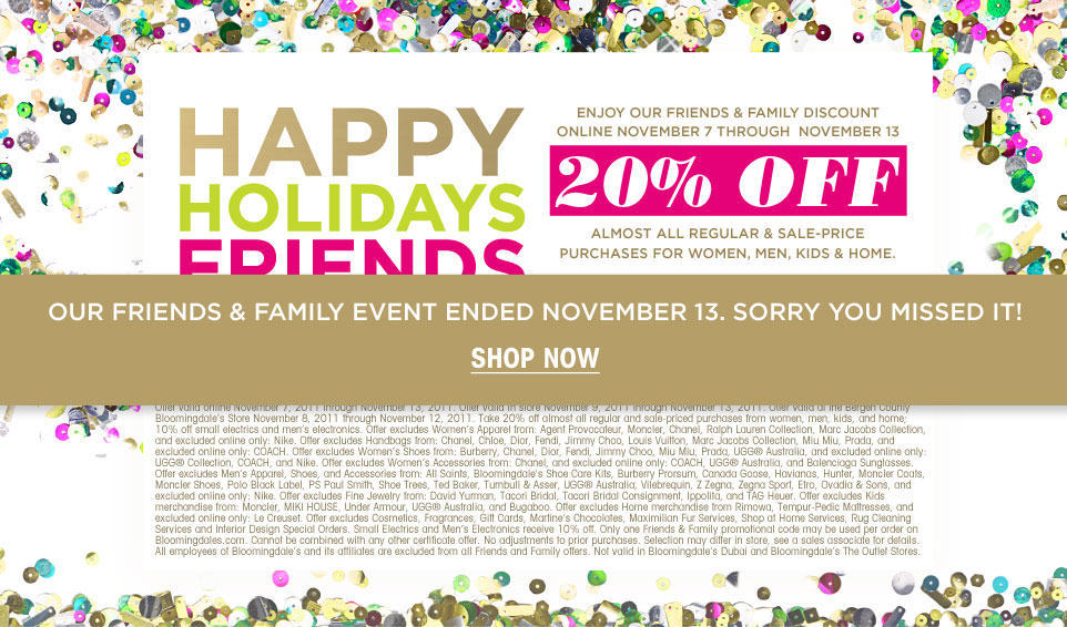photo regarding Bloomingdales Printable Coupons called Bloomingdales: 20% Off Buddies Relatives Sale The Limerick Lane